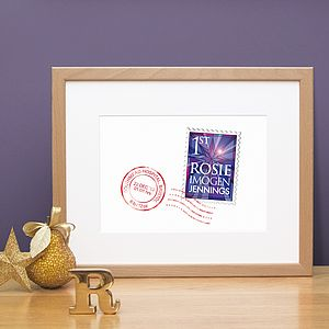 Personalised Christmas Baby Stamp Print