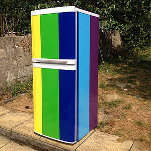 Rainbow Stripe Vinyl Fridge Cover - decorative accessories