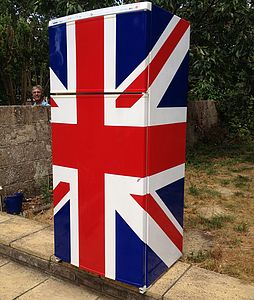 Union Jack Vinyl Fridge Cover - living room