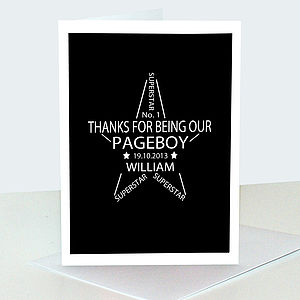 Thank You Pageboy Card And Keepsake Print - wedding stationery