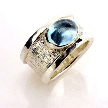 Sterling Silver Blue Topaz Drum Ring