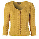 Cable knit cardigan jacket - mustard