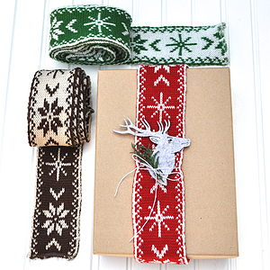 Christmas Knitted Ribbon - cards & wrap