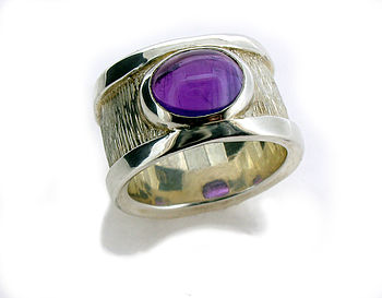 Sterling Silver Amethyst Drum Ring