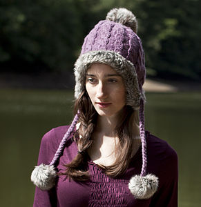 Fur Trim Bobble Hat - hats, scarves & gloves