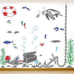 'Under The Sea' Vinyl Wall Sticker Set - wall stickers