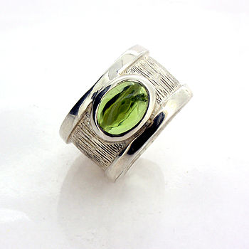 Sterling Silver Peridot Drum Ring