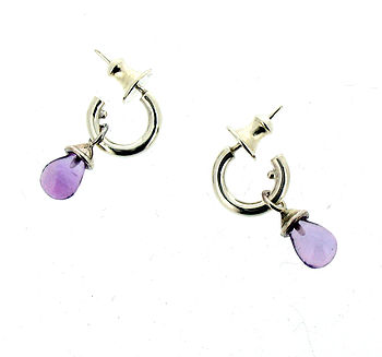 Silver Or Gold Miini Hoop Amethyst Earrings