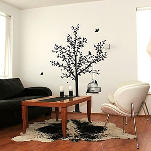 Tree And Birdcage Wall Sticker - decorative accessories