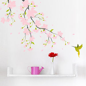 Pink Blossom Colour Wall Sticker - wall stickers