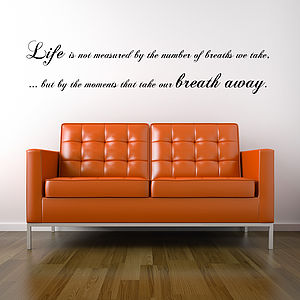 Breath Away Wall Sticker Quote - wall stickers
