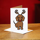Dachshund Christmas Card In Brown