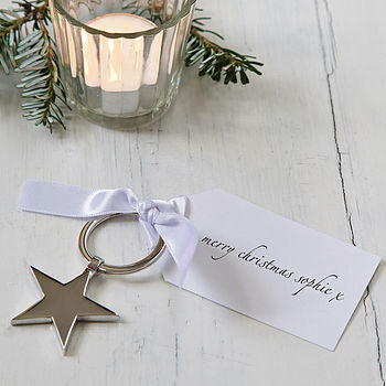 Personalised Star Christmas Keyring With Tag