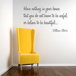 William Morris Wall Sticker Quote