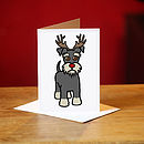 Schnauzer Christmas Card In Grey