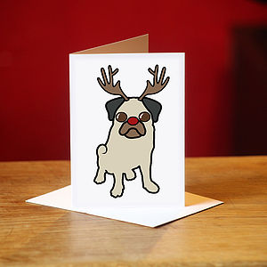 Pug Christmas Card - christmas card packs