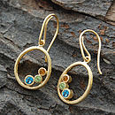 Gold Oval Topaz Citrine Peridot Birthstone Earrings