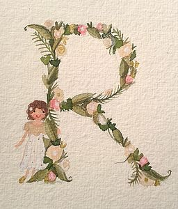 Girl's Floral Initial Painting - children's room