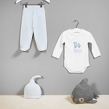 Personalised Train Newborn Clothes Set