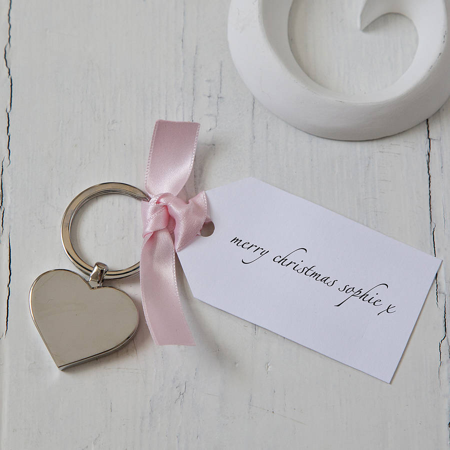 Personalised Heart Christmas Keyring With Tag
