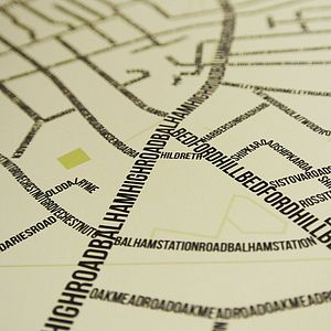 Balham Typographic Street Map