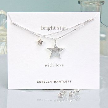Silver Bright Star Necklace And Earrings Set