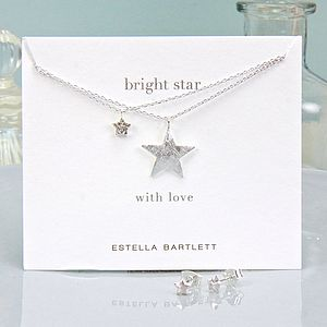 Silver Bright Star Necklace And Earrings Set - jewellery