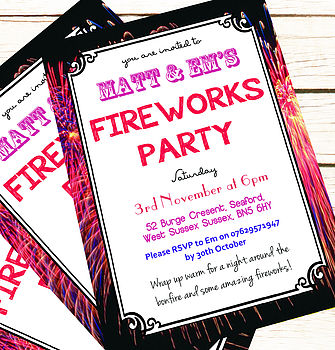 Personalised 'Fireworks Party' Invitations