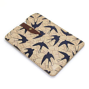 Leather Swallow And Leaf Case For iPad Mini - laptop bags & cases
