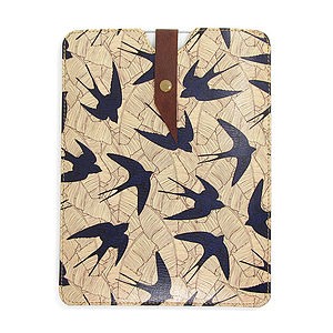 Leather Swallow And Leaf Case For iPad Mini - tech accessories for her