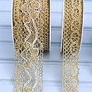 'embroidered' and 'loop and daisy' lace in gold