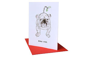 'Gizza Kiss' Christmas Card - cards & wrap