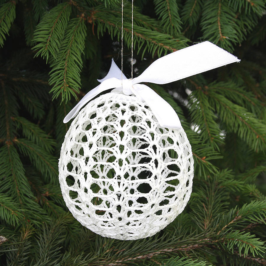 hand crocheted cotton christmas tree bauble by the ...