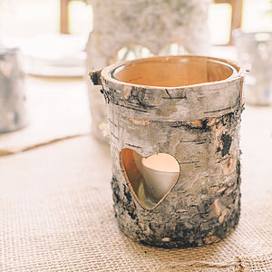 Three Wooden Bark Tea Light Holders - christmas lights