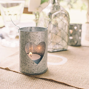 Set Of Two Zinc Tea Light Holders With Hearts - lighting