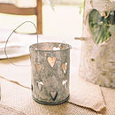 Set Of Two Zinc Tea Light Holders With Hearts