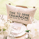 Thumb time to drink champagne dance cushion