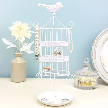 Birdcage Jewellery Holder In White