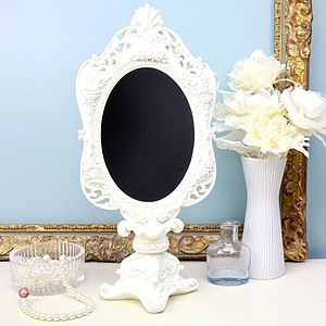 Vintage Cream Pedestal Mirror - bedroom