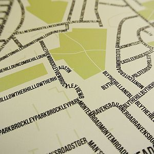 Blythe Hill Typographic Street Map