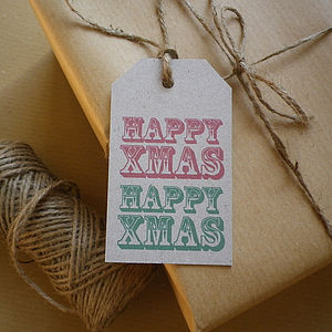 Happy Xmas Recycled Gift Tags - finishing touches