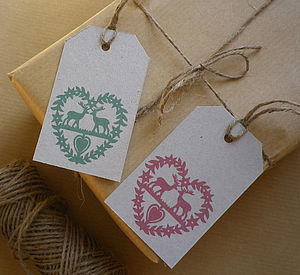 Recycled Folk Art Heart Gift Tags