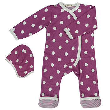 Organic Spotty New Baby Romper And Hat