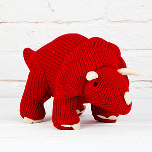 Red Knitted Triceratops Soft Toy - toys & games