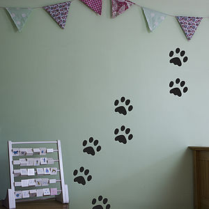 Dog Footprints Decal Pack For Kids - wall stickers