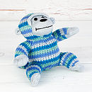 Knitted Blue Monkey Rattle