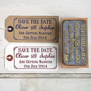 Save The Date Rubber Stamp With Border - parties