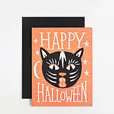 Black Cat Halloween Card - cards