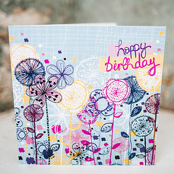 Quirky Floral Stems Birthday Card