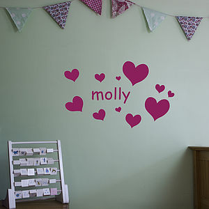 Girl's Name With Hearts Decal - wall art
